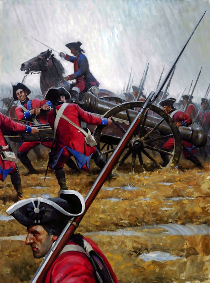 British redcoats advancing to the front