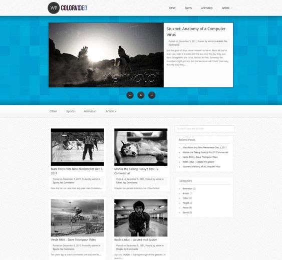This video WordPress theme has oEmbed support, a widgetized footer, 23 preset color schemes, 45 header backgrounds, Ajax comments and pagination, automatic image resizing, full localization support, and more.