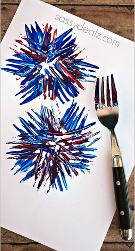 Kids Fireworks Craft Using a Fork - Fun art project for the 4th of July or Memorial Day!