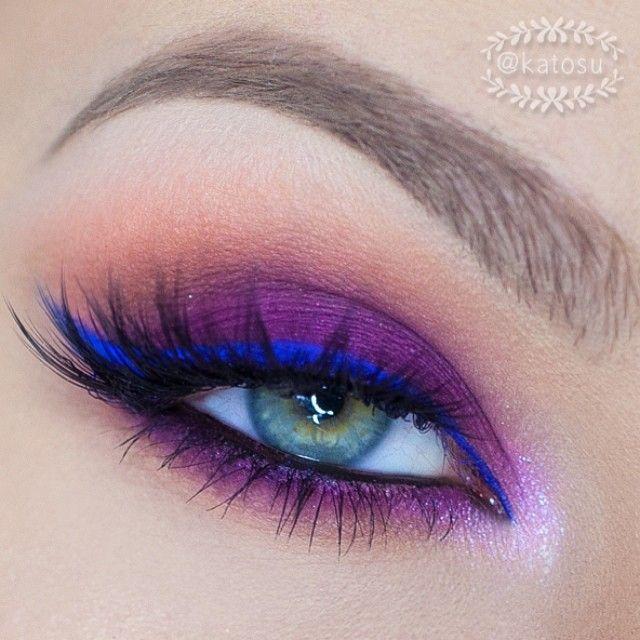 Electric blue liner with purple eyeshadow #eye #eyes #makeup #eyeshadow #bold #dramatic #bright