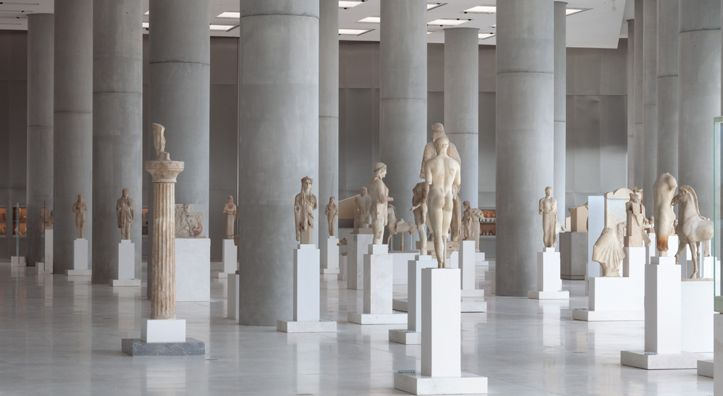 The Acropolis Museum in Athens offers a 360 degree exhibit of statues from 7th century to 480 B.C.