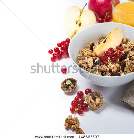 Granola with apples, red currants and nuts #healthy #breakfast #fruit #granola