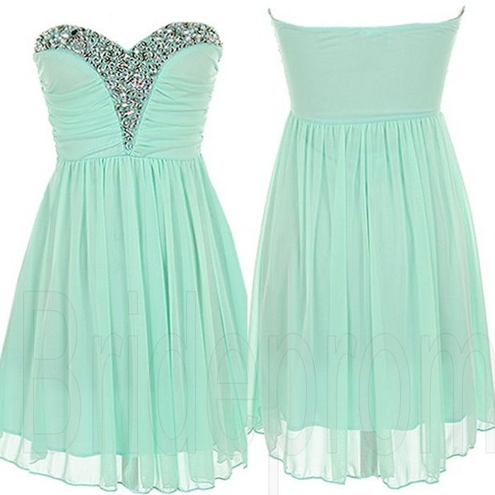 Mint Green Sweetheart Chiffon Sleeveless Short Prom Dress Beaded Evening Party Gown Cocktail Bridesm on Luulla