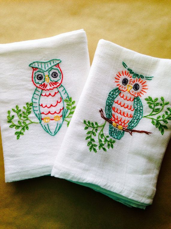 Owl Embroidered Dish Towels Https://www.etsy.com/listing/