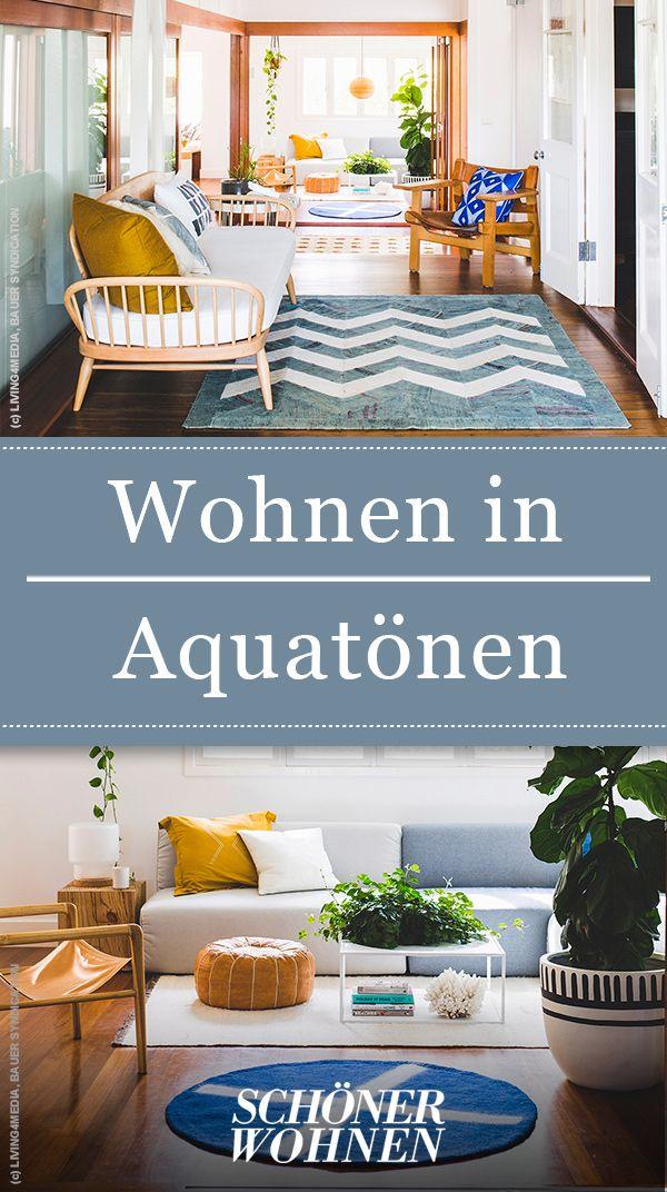 Wohnen In Aquatonen Wohnen Schoner Wohnen Naturfarben