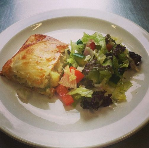 Vegetarian potato, onion and cheese puff pie on the school lunch menu at Christ Church.