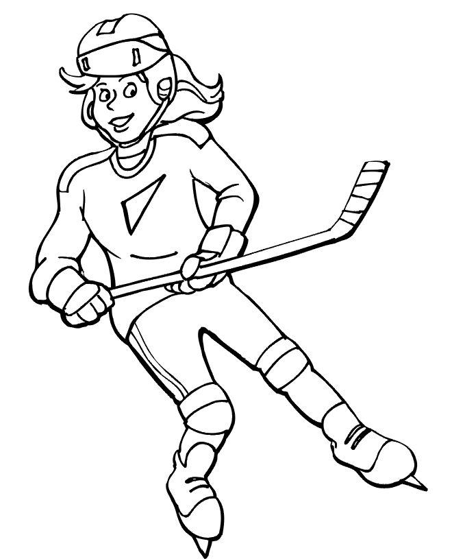 girls hockey coloring sheet printable