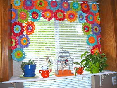 Bee-u-ti-ful Crochet flower window valance