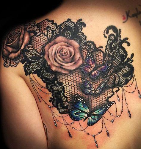 Rose Shoulder Tattoo Ideas with Black Henna Lace Chandelier at MyBodiArt.com - Floral Flower Tatt