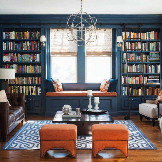 36 Fabulous home libraries showcasing window seats! (Image Courtesy of Cory Connor Designs)