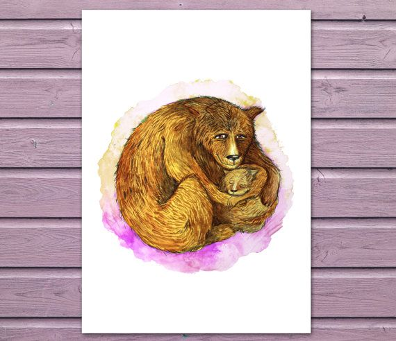 Printable Nursery Art - Mama and Baby Bear on Etsy, $15.00