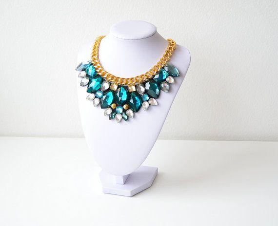 Gold Green Rhinestone Gem Crystal Statement Necklace by GemsOver