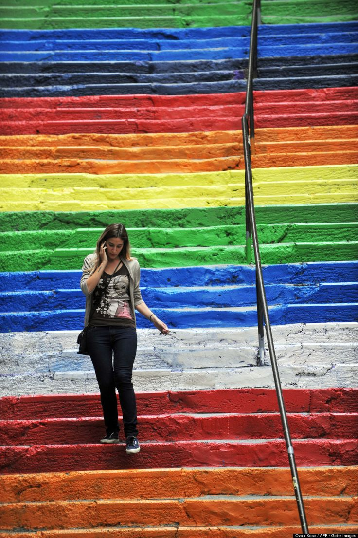 A retired forestry engineer named Huseyin Cetinel decided to spruce up the neighborhoods of Findikli and Cihangir in Istanbul, devoting four days and $800 dollars to redecorate a massive staircase in rainbow hues. The local community fell in love with the newly adorned pedestrian passageway, tweeting up a storm of praise for the guerrilla beautification project.