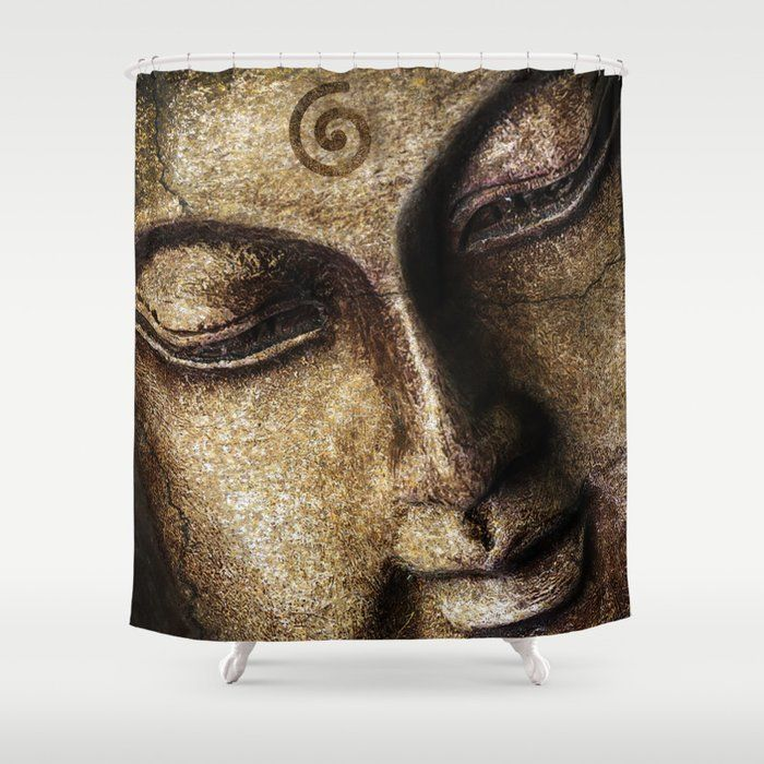 Spa Lotus Green Bamboo And Buddha Fabric Shower Curtain Set