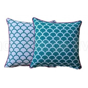 #Redecorate with Bright Aqua #Fishscale Outdoor reversible 45x45cm #cushion…