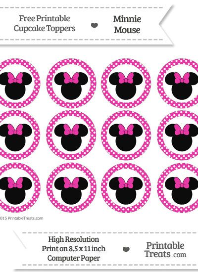 Free Hot Pink  Polka Dot Minnie Mouse Cupcake Toppers