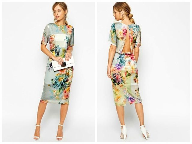 Wedding Guest Fashion: 12 Dresses from the ASOS Wedding Collection We Love --- Floral Open Back Midi T Shirt Dress This floral number puts a new spin on the t-shirt dress. Its open back and sheer detailing is ideal for an outdoor ceremony.
