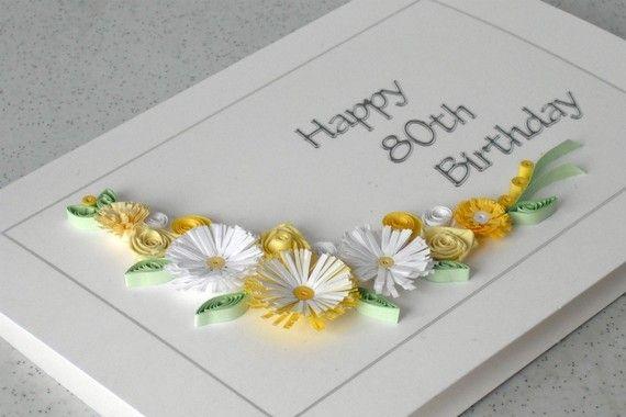 80th birthday greeting card handmade by PaperDaisyCardDesign, £6.20