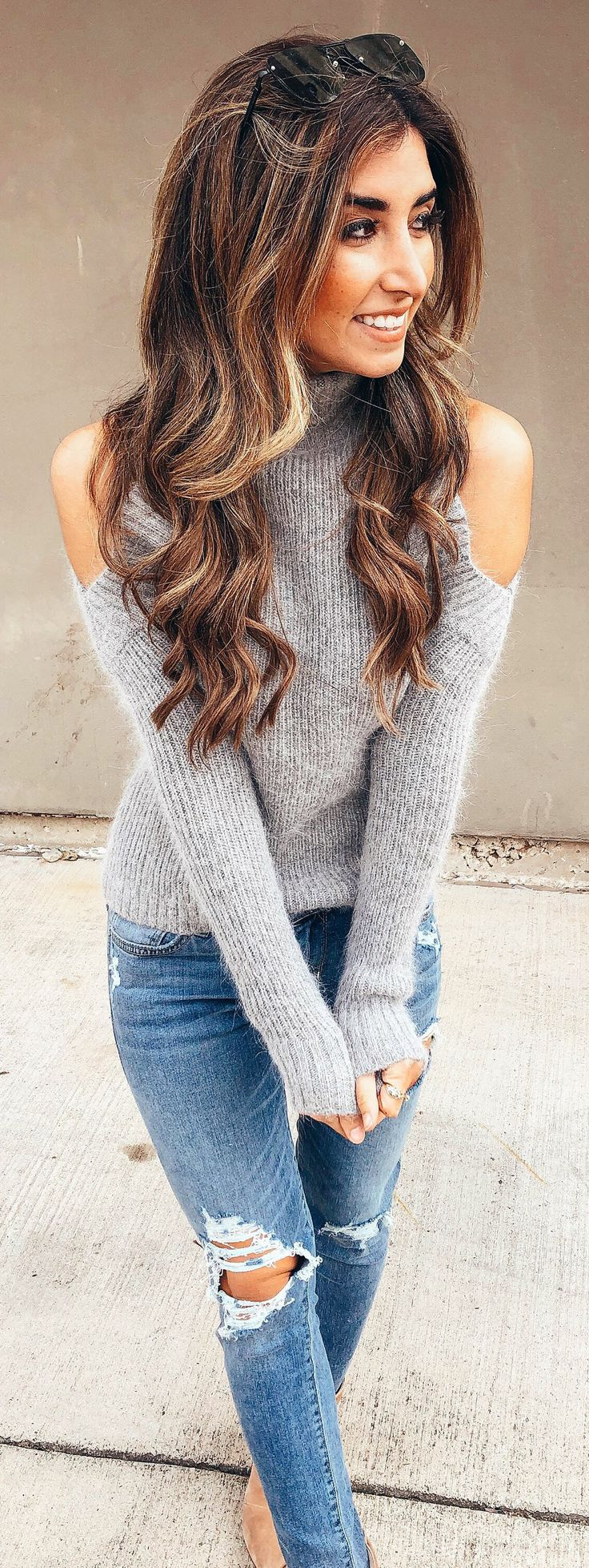 #winter #outfits gray cold-shoulder sweater. Pic by @jessi_afshin.