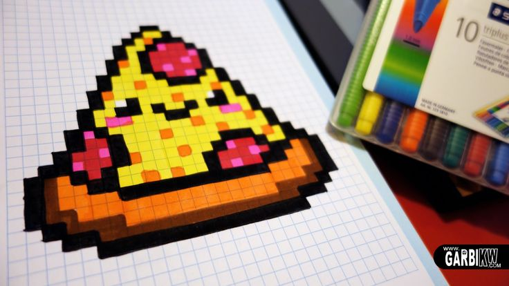 Handmade Pixel Art - How To Draw a Kawaii Pizza by Garbi KW #pixelart