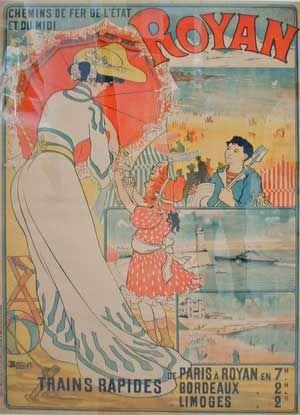 Vintage Railway Travel Poster -  Royan - Plage - France - 1914.