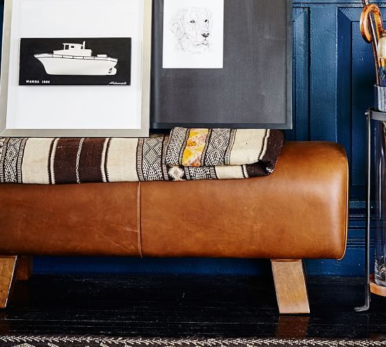 Ken Fulk Leather Pommel Bench | Pottery Barn