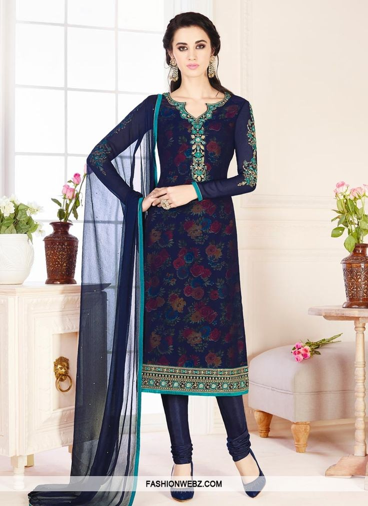 Real #beauty comes out from your #dressing #style with this #navyblue faux #georgette #churidar #suit.