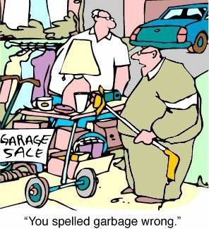 Funny Garage Garbage Sale Cartoon