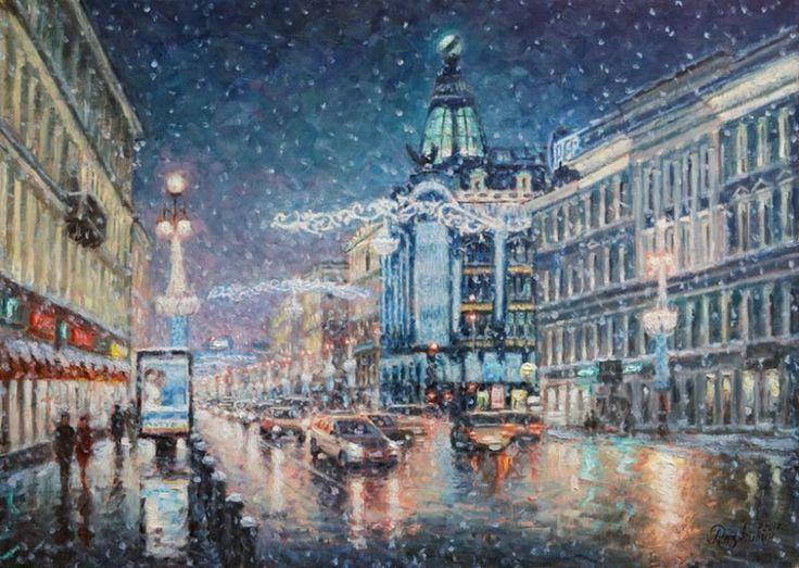 Картины современных художников - Рождественские огни Невского проспекта.
