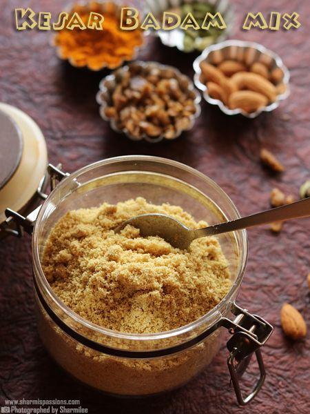 Kesar Badam Mix Recipe - Healthy Badam Mix Recipe   Sharmis Passions