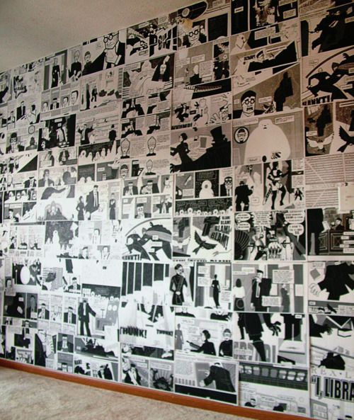 COMIC STRIP WALLPAPER  You can actually use recycled comic book pages or, have it photocopied for a uniform black & white effect. This could add drama into any space and can save you money from buying the usual wallpaper.    from :http://www.auntpeaches.com/2011/10/rebeccas-comic-book-bathroom.html