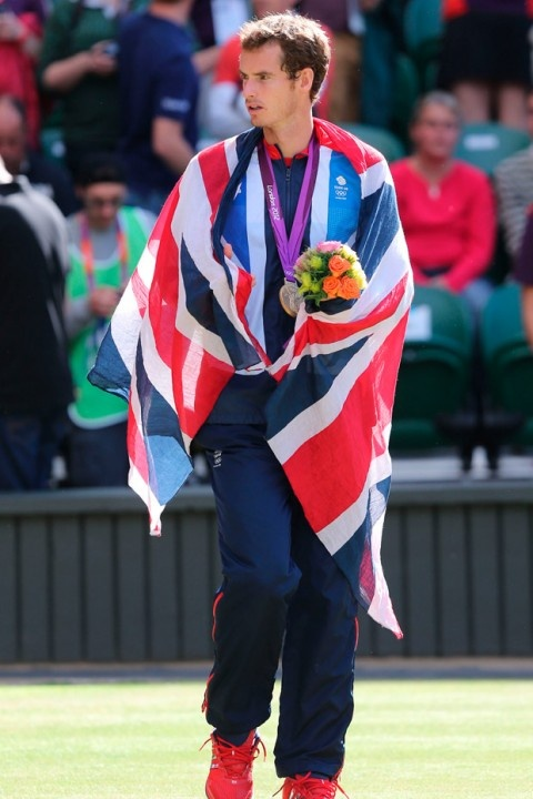 Andy Murray after winning gold at the London 2012 Olympics