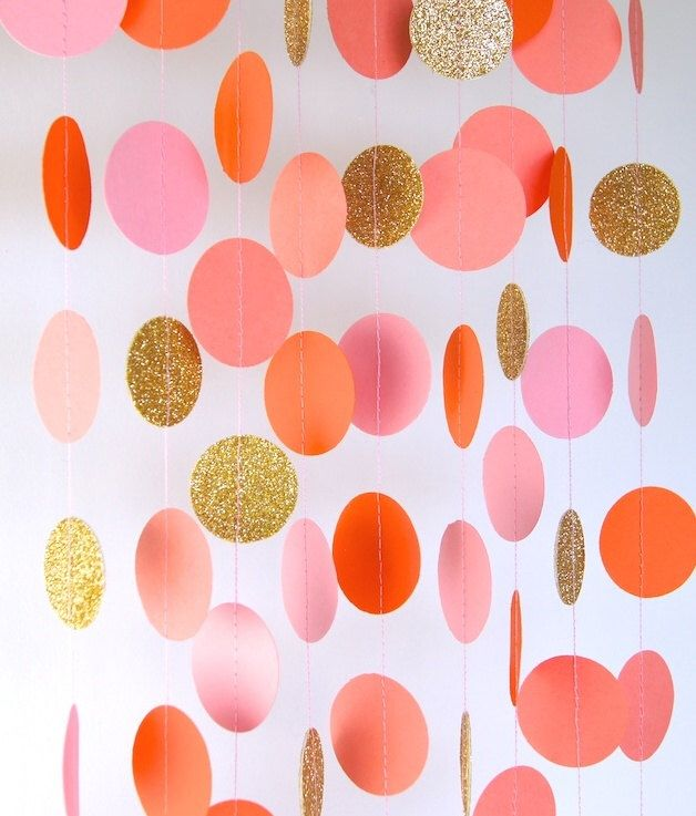 Garland, Paper Garland in Blush Pink, Orange, Coral and Gold, Bridal Shower, Baby Shower, Party Decorations, Birthday Decor by TheLittleThingsEV on Etsy https://www.etsy.com/listing/185114133/garland-paper-garland-in-blush-pink