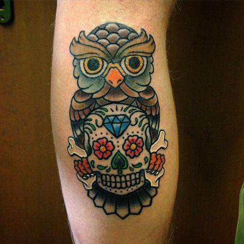 10 best images about owl and skull tattoo on pinterest for Owl with sugar skull tattoo
