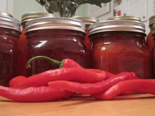 ... | Pumpkin butter, Homemade strawberry jam and Red pepper jelly