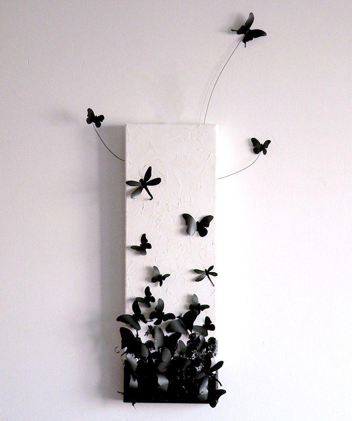 """Tableau """"envol de papillons"""" en 3D, noir & blanc : Décorations murales par adafe"""