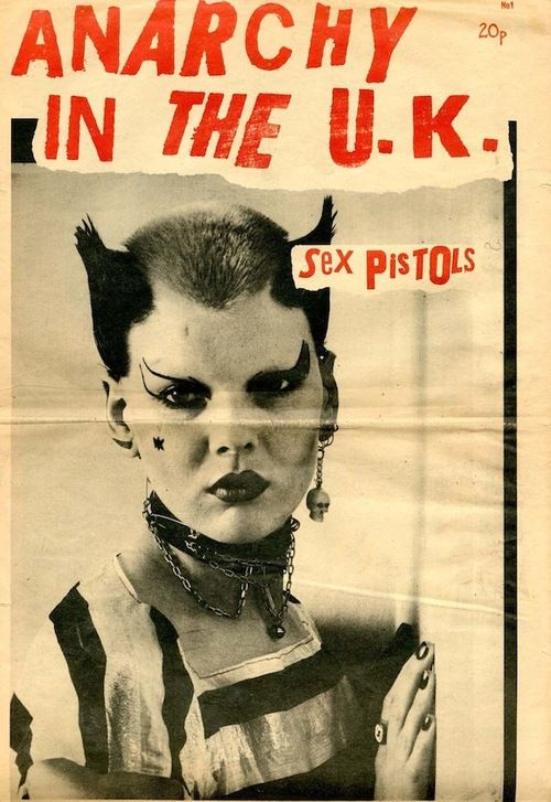 Soo Catwoman on a Sex Pistols 'Anarchy in the U.K.' promo item, 1976.