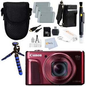 Canon PowerShot SX720 HS Point and Shoot Digital Camera  Red  32GB Memory Card  3 Batteries  Reader  Charger  Flexible Gripster Tripod & More!!!