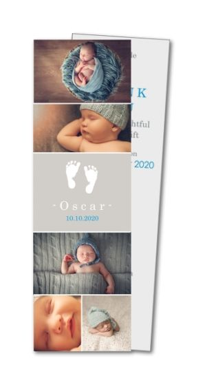 Baby thank you cardx : Multi photo footprints  (MTR-377) from Planet Cards
