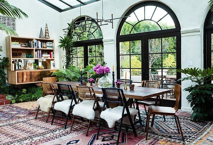 Inside the Eclectic Los Angeles Home of Katie Tarses -- One Kings Lane: Decor, Dining Rooms, Spaces, Boho Chic, Living Rooms, Window, The Angel, Layered Rugs, Spanish Style