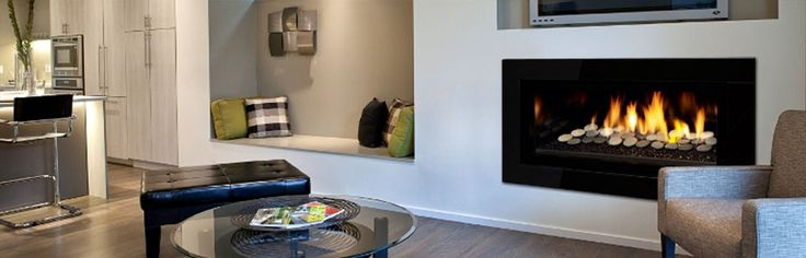 REGENCY Greenfire GF900C Gas Fireplace: Large Regency Gas Fireplace - The Regency Greenfire™ adds modern expression to any living space with today's sleek, linear styling. This series features seamless design and beautiful wide angle flames set on a full bed of shimmering crystals. Efficient, clean-burning zone heating has never been more stylish! #Heating #GasHeating #Inbuilt #Regency #HearthHouse