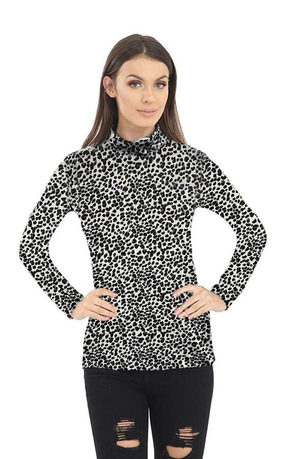54c15ef3f4a8b5 New Womens Ladies Leopard Print Long Sleeve Turtle Polo Neck T-shirt Top UK  8-26#Print#Long#Sleeve