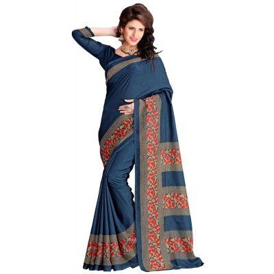 Smashing Navy Blue Bhagalpuri Silk Printed Saree