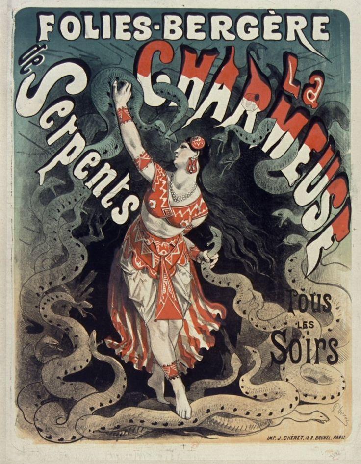 1875, Jules Chéret, La Charmeuse de serpents, Folies-Bergère, Paris (Bibliothèque nationale de France) [Jules Cheret, Folies Bergere, Жюль Шере, Фоли-Бержер]