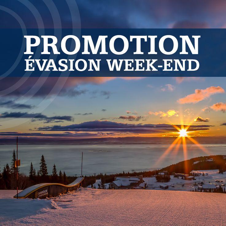 Notre promotion «ÉVASION WEEK-END» est de retour! 2 nuits d'hébergement et 2 jours de ski au Mont-Sainte-Anne, Stoneham ou encore Le Massif de Charlevoix ! Visitez notre site web pour tous les détails: sommetsdusaint-laurent.com/Promotions/