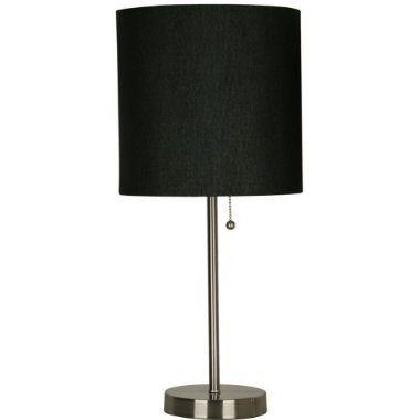 Silver lamp with black shade