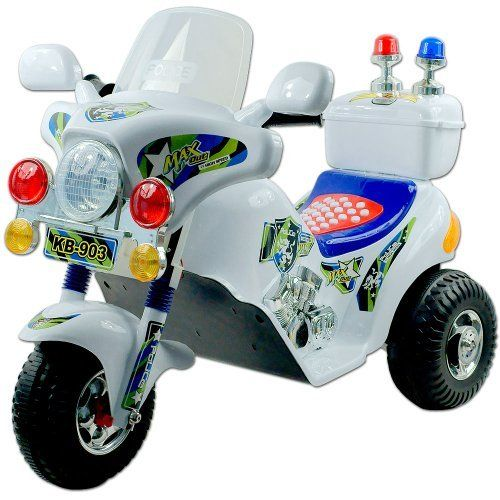 EZ Riders Police Motorcycle Battery Operated - White by EZ Riders. $89.99. With its ultimate Motorcycle like style, chrome color highlights and Police styling, kids can experience the excitement of Motorcycle riding in their own driveway with this EZ Riders Police Motorcycle. Now your kid can catch the bad guys or help someone in need with the EZ Riders Police Motorcycle. Give your kid the chance to be like Dad, also to be the envy of every kid on the block. It will...