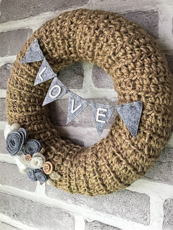 Rustic wreath  personalised wreath  shabby chic by TinyandToad