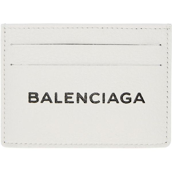 Balenciaga White Everyday Single Card Holder (2.025 HRK) ❤ liked on Polyvore featuring bags, wallets, white, balenciaga bag, leather wallets, card carrier wallet, balenciaga wallet and real leather wallets