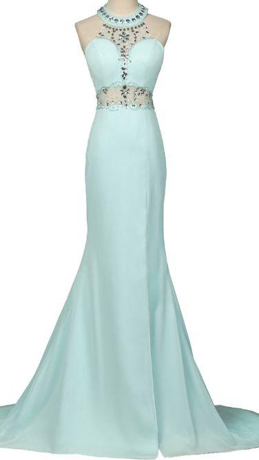 Open Back Long Sky Blue Prom Dresses